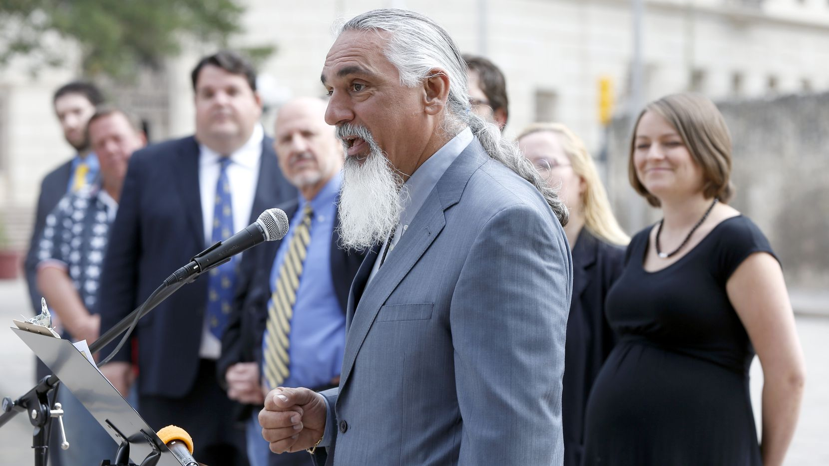 Jamie Balagia, who is going to trial in Sherman, is accused of shaking down Colombian drug lords. Here he speaks as a Libertarian party candidate for Texas attorney general on May 1, 2014 in front of the Alamo.