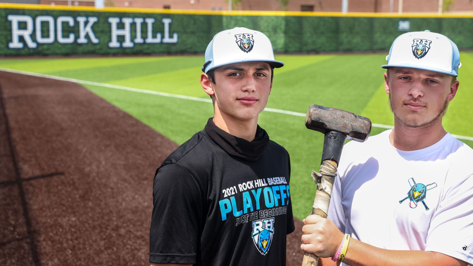 Varsity baseball players Brenner Cox, left, and Josh Livingston pose for a portrait during an after school practice at the Rock Hill High School baseball field in Frisco on Wednesday, May 19, 2021. The new team is now in the regional quarterfinals.
