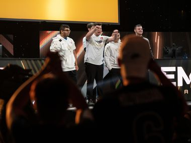 The Dallas Empire team is welcomed to the stage again by boos from the crowd during Friday's competition of the Call of Duty League Championship Weekend at the Galen Center on Friday, August 20, 2021 in Los Angeles, California. The Empire defeated the Toronto Ultra team 3 - 2 to advance to the next round of the competition Saturday. (Justin L. Stewart/Special Contributor)