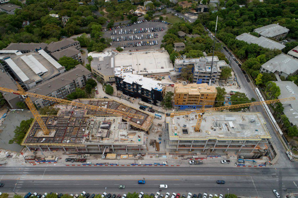 The mixed-use Music Lane  development and the Magdalena Hotel construction photographed earlier this year on South Congress Avenue in Austin.