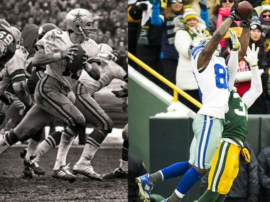 Roger Staubach (left)/Dez Bryant (right)