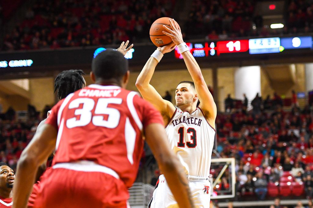 LUBBOCK, TX - JANUARY 26: Matt Mooney #13 of the Texas Tech Red Raiders shoots the ball during the first half of the game against the Arkansas Razorbacks on January 26, 2019 at United Supermarkets Arena in Lubbock, Texas.  (Photo by John Weast/Getty Images)
