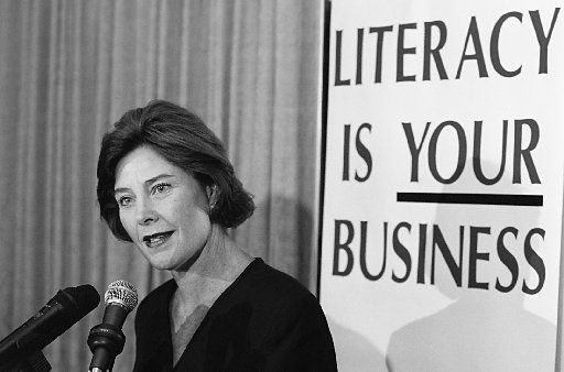 Laura Bush, seen here at the Dallas International Literacy Day luncheon in September 1995 when her husband was governor of Texas, has a long track record of public service. Last month, her foundation contributed $500,000 for books in the school libraries damaged in the October 2019 North Dallas tornado.