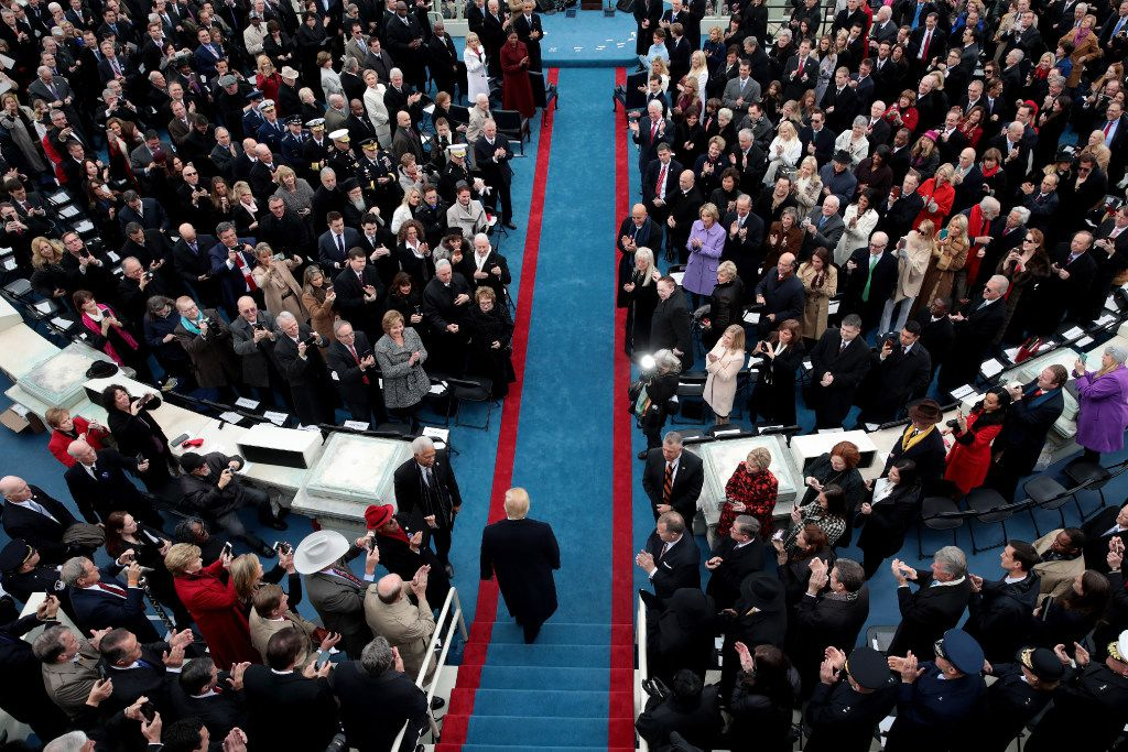 Gentry Beach (far right, left of a woman in purple coat) was in attendance as President-elect Donald Trump arrived for his inauguration.