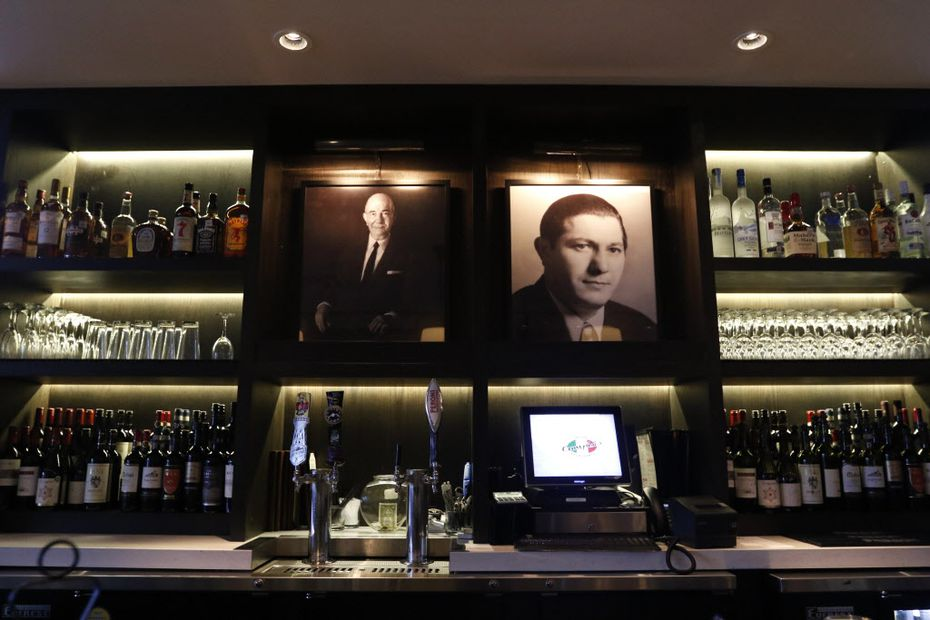 The bar at the Campisi's restaurant in Plano, Texas a younger and older Joe Campisi on May 10, 2016. (Rose Baca/The Dallas Morning News)