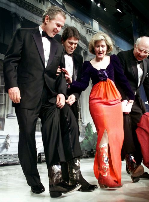 Kay Bailey Hutchison compared fancy footwear with President-elect George W. Bush, Gov. Rick Perry and Sen. Phil Gramm during the 2001 Black Tie and Boots ball in Washington.