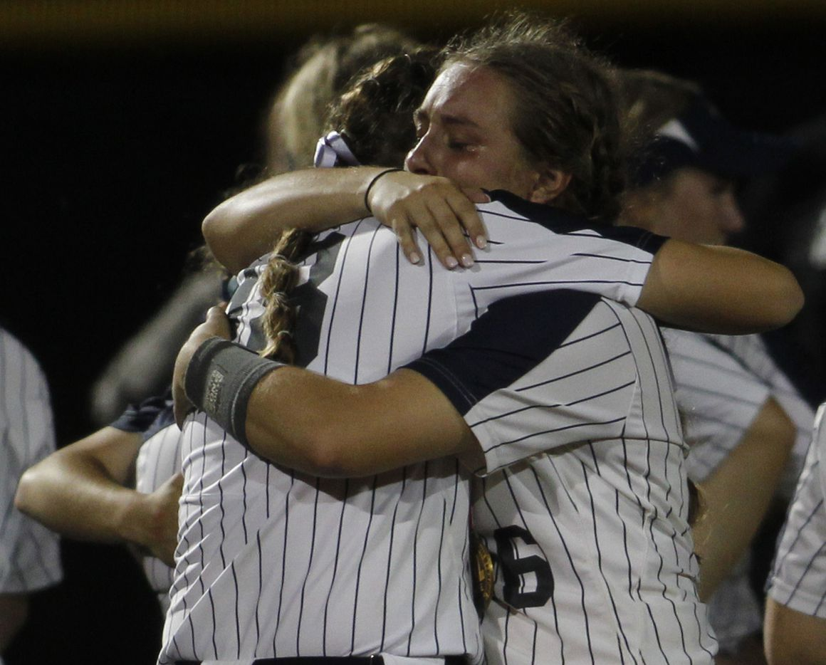 Flower Mound players console each other following their 2-0 loss to Deer Park. The two teams played their UIL 6A state softball semifinal game at Leander Glenn High School in Leander on June 4, 2021. (Steve Hamm/ Special Contributor)
