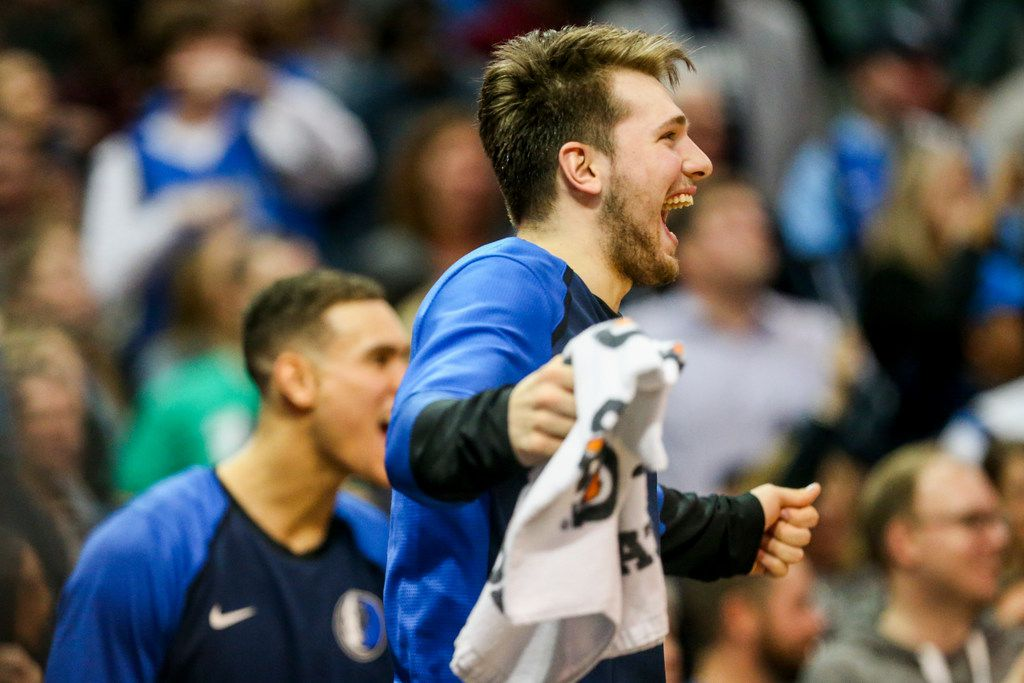 Dallas Mavericks guard Luka Doncic (77) reacts after Devin Harris scored to tie during an NBA basketball game at American Airlines Center in Dallas on Sunday, Jan. 13, 2019. (Shaban Athuman/The Dallas Morning News)