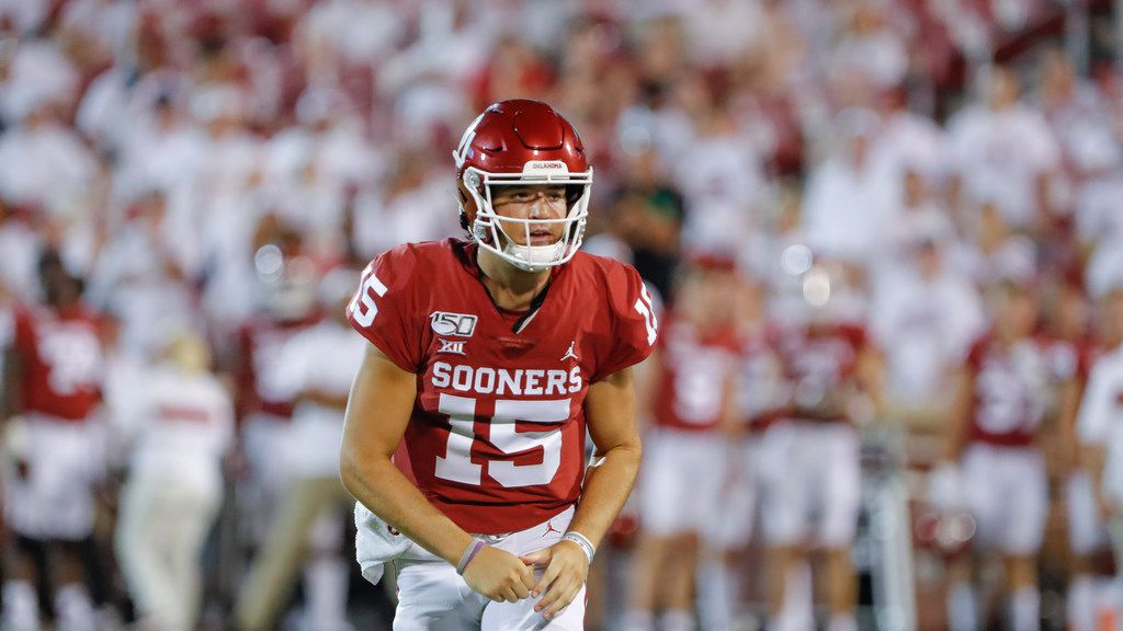 Oklahoma quarterback Tanner Mordecai (15) during the second half of an NCAA college football game in Norman, Okla., Sunday, Sept. 1, 2019. Oklahoma won 49-31.