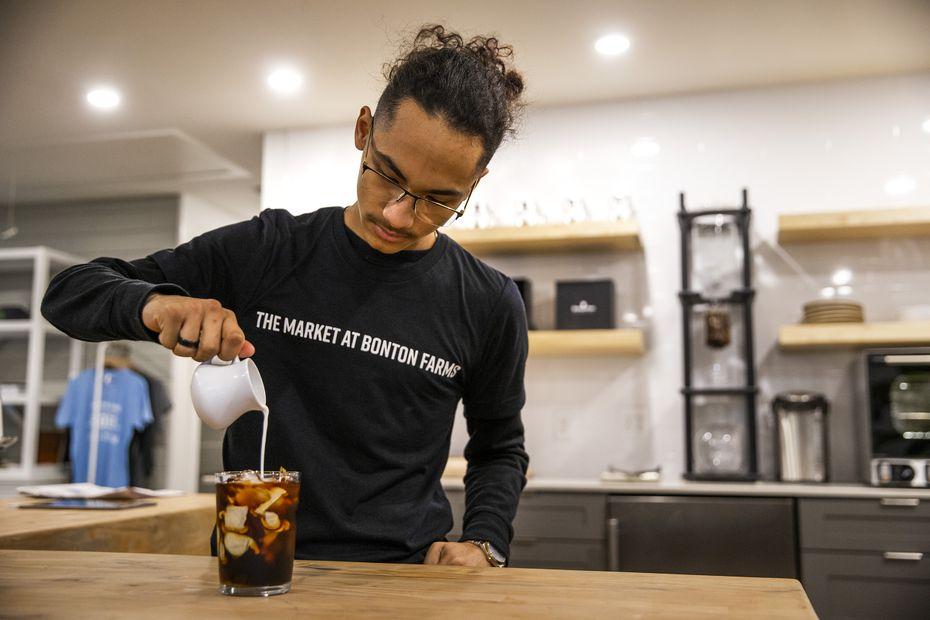 Barista James Villa prepares a cold brew coffee at The Coffee Shop at Bonton Farms.