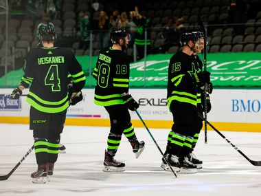 The Dallas Stars skate onto the ice after defeating the Columbus Blue Jackets at American Airlines Center in Dallas on Saturday, April 17, 2021. Stars won, 5-1.