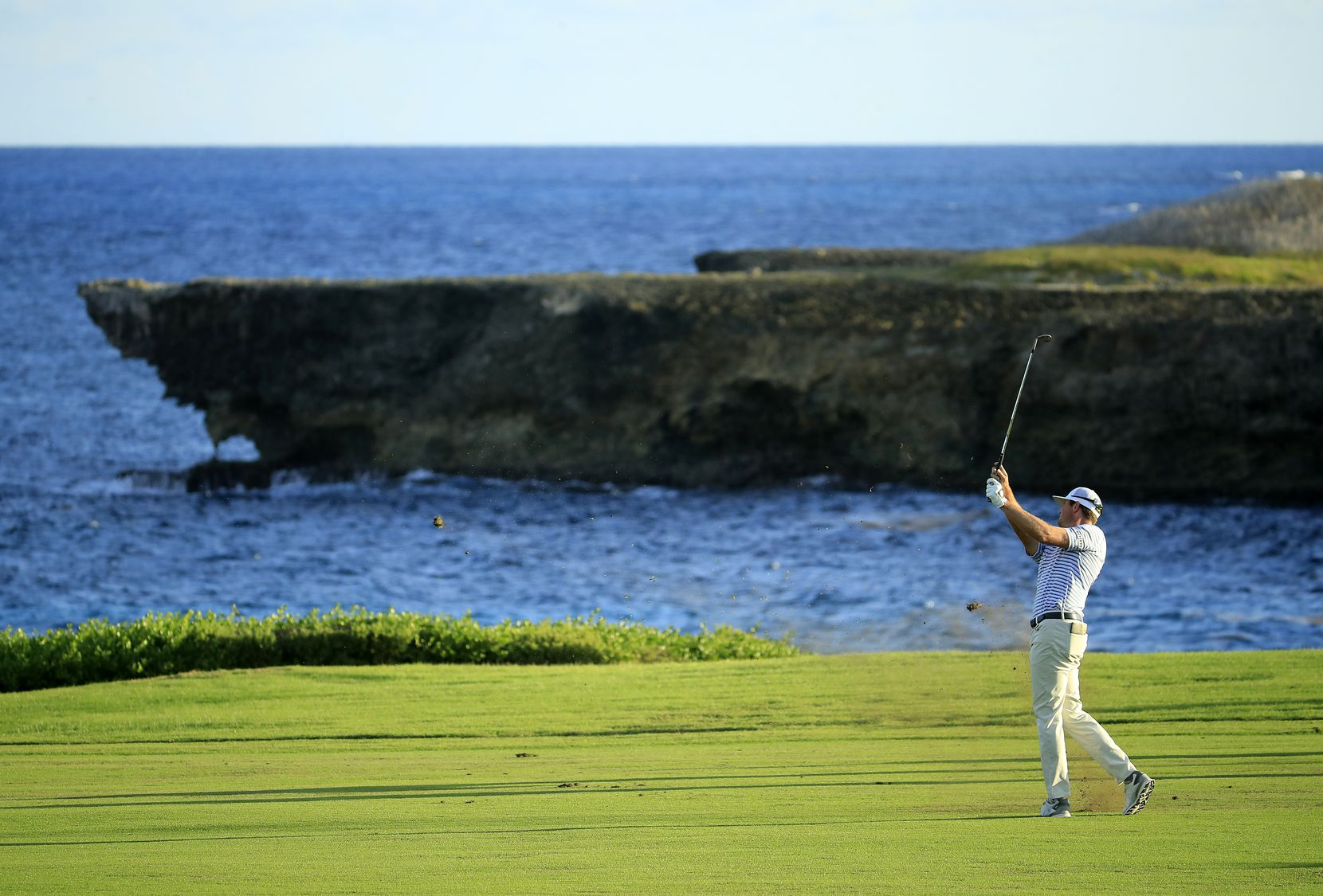 Hudson Swafford played his second shot on the 18th hole during the final round of the Corales Puntacana Resort & Club Championship last month in the Dominican Republic.