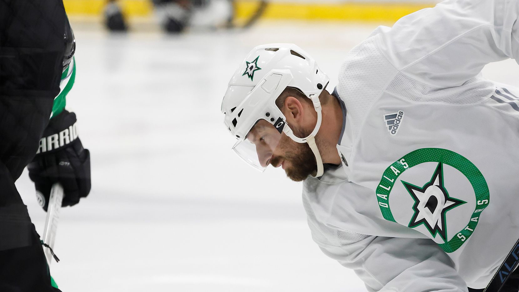 Dallas Stars left wing Blake Comeau works on a face off during a training camp practice at the Comerica Center on Wednesday, Jan. 6, 2021, in Frisco.