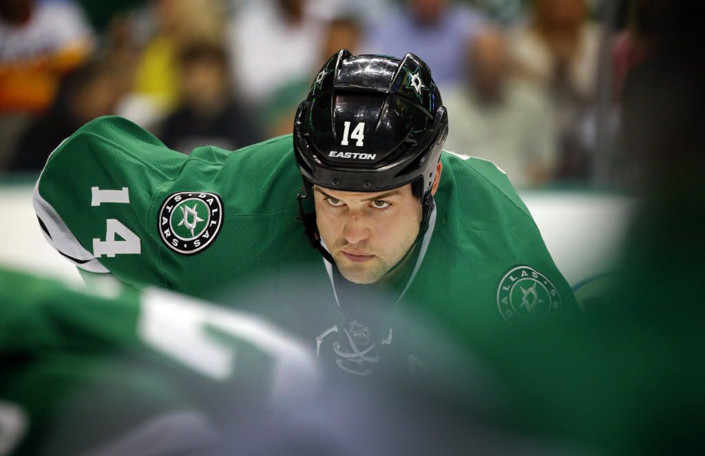 Dallas Stars left wing Jamie Benn (14) eyes a first period face-off in Game 2 against the St. Louis Blues in the NHL Western Conference Semifinals at the American Airlines Center in Dallas, Sunday, May 1, 2016. (Tom Fox/The Dallas Morning News)