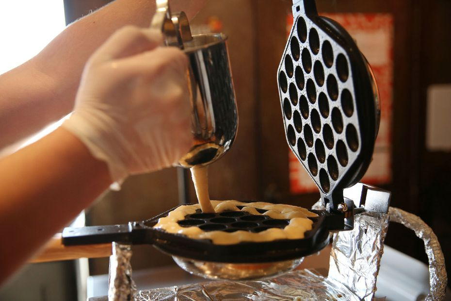 Bubble cones are made in a waffle iron.