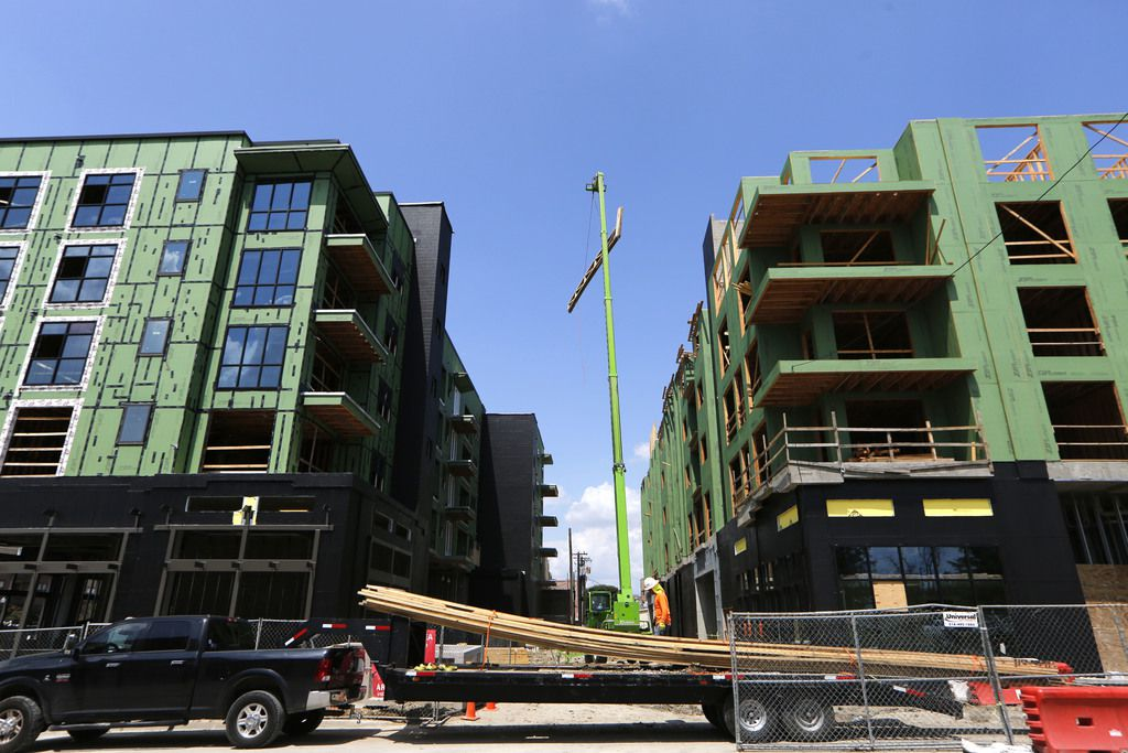 Construction of residences in downtown Plano, photographed Sept. 6..  (Nathan Hunsinger/The Dallas Morning News)