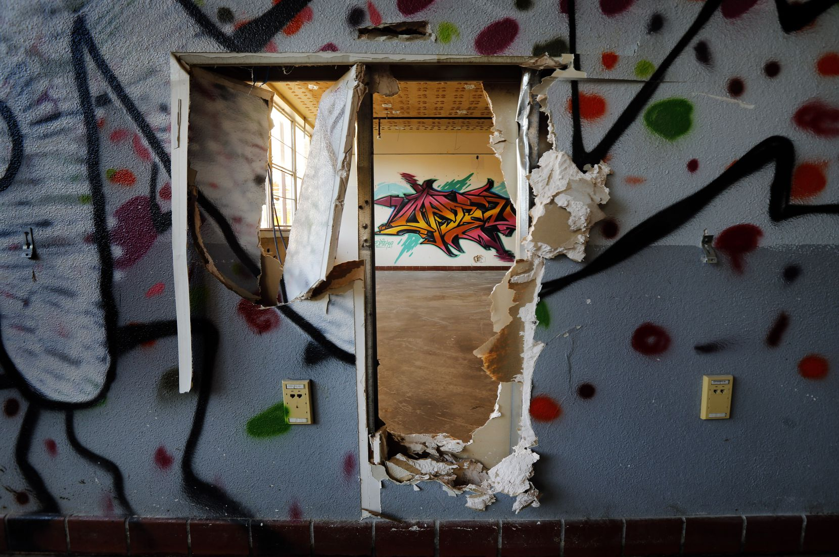 A majority of the classrooms at the closed Pearl C. Anderson Middle Learning Center in South Dallas have been tagged over the last few years.