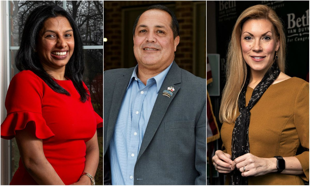 Sunny Chaparala, Desi Maes and Beth Van Duyne are among the leading candidates in the Republican primary for Texas' 24th Congressional District.