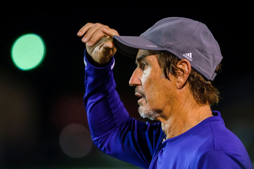 Mount Vernon high school football coach Art Briles coaches on the sideline during his team's season-opening game on Friday, Aug. 30, 2019, in Bonham, Texas. The away game against the Bonham Warriors was the first game at Mount Vernon for Briles, the former Baylor coach. (Smiley N. Pool/The Dallas Morning News)