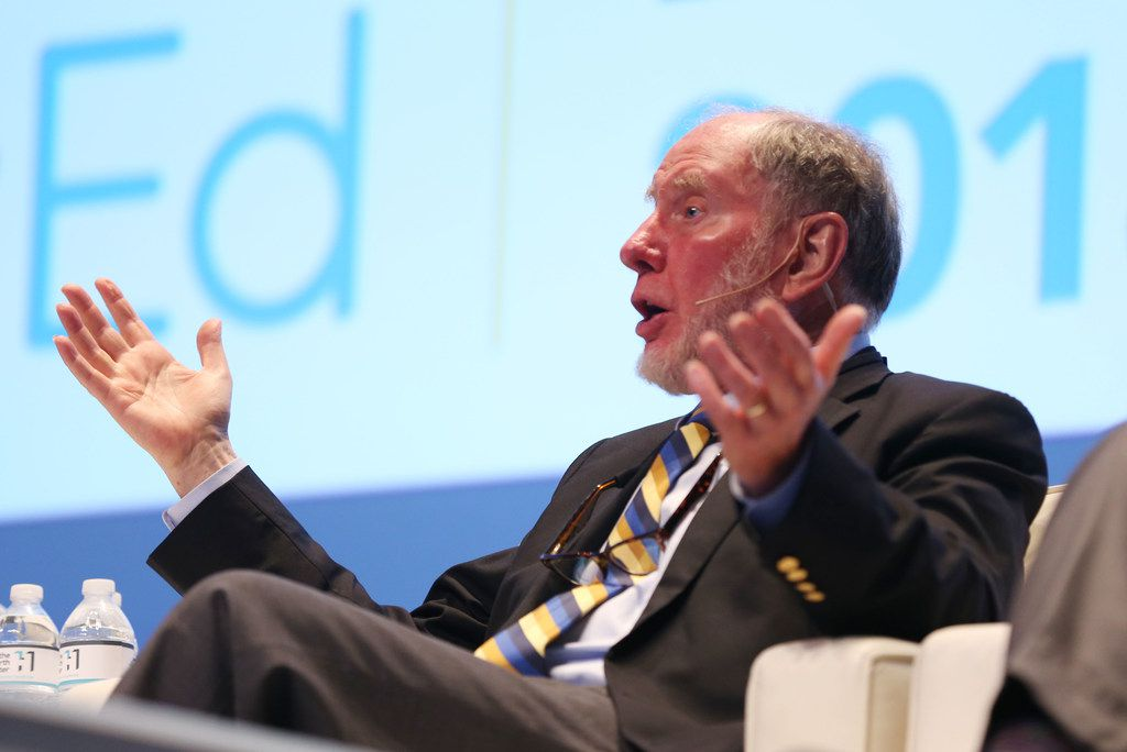 Robert Putnam, Peter and Isabel Malkin professor of public policy at Harvard University, speaks during a panel discussion on Education and the Economy at ElevatEd: Education & the Economy conference at Southern Methodist University in Dallas on Monday, June 4, 2018. (Rose Baca/The Dallas Morning News)