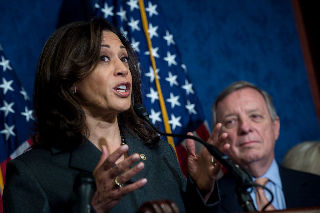 Sen. Kamala Harris (D-Calif.) speaks at an event on legislation to protect Deferred Action for Childhood Arrivals policy recipients, on Capitol Hill in Washington, Oct. 25, 2017. Looking on is Sen. Dick Durbin (D-Ill.), an original sponsor of the Development, Relief, and Education for Alien Minors Act in 2001. Updat