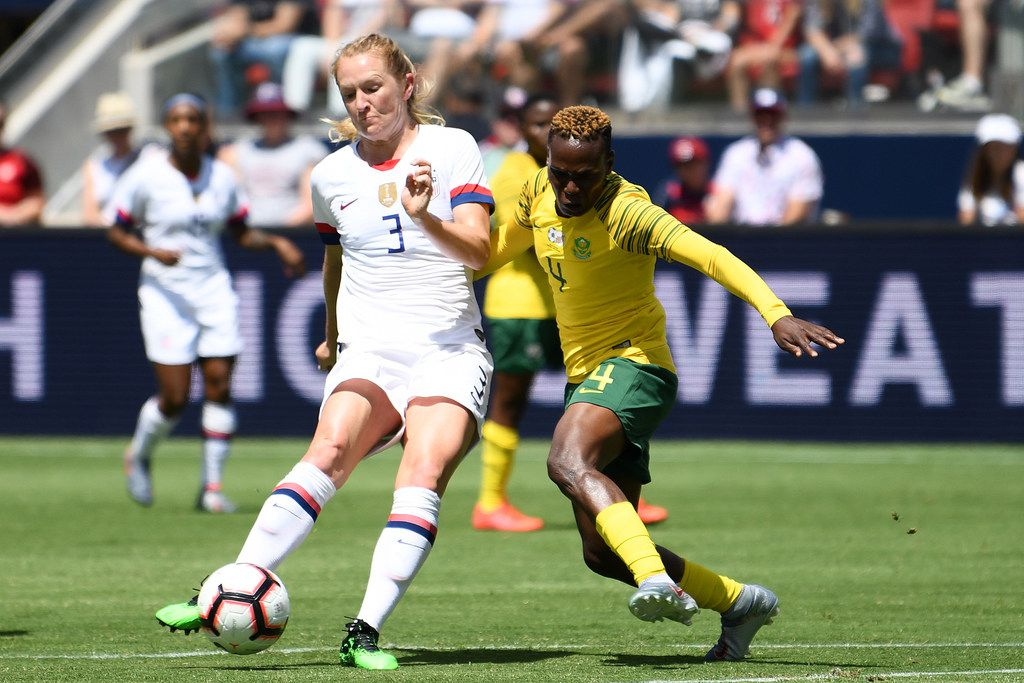 SANTA CLARA, CALIFORNIA - MAY 12: Samantha Mewis #3 of United States shoots a goal against South Africa during their International Friendly at Levi's Stadium on May 12, 2019 in Santa Clara, California. (Photo by Robert Reiners/Getty Images)