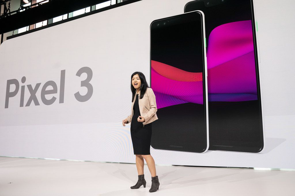 Liza Ma, product manager at Google, discusses the new Google Pixel 3 and Pixel 3 XL smartphones during a Google product release event, October 9, 2018 in New York City.
