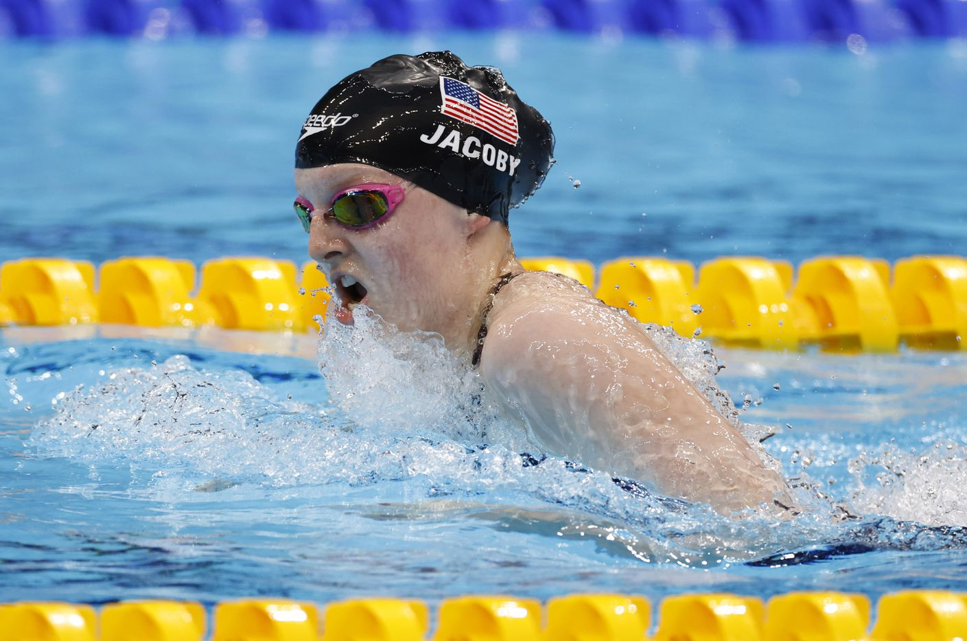 USA's Lydia Jacoby competes in the women's 4x100 medley relay during the postponed 2020 Tokyo Olympics at Tokyo Aquatics Centre, on Sunday, August 1, 2021, in Tokyo, Japan. USA finished in second with a time of 3:51.60 to earn a silver medal. (Vernon Bryant/The Dallas Morning News)