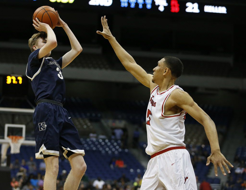 Keller's Carson Hughes (3) shoots over San Antonio Wagner's Tristan Clark (25) during the Class 6A boys basketball UIL state semifinals at the Alamodome in San Antonio, Friday, March 10, 2017. (Stephen Spillman/Special Contributor)
