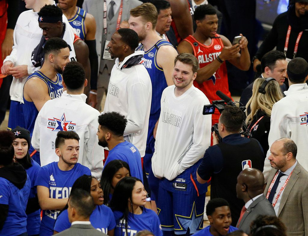 Team LeBron's Luka Doncic (2) smiles as his team celebrates after defeating Team Giannis 157-155 in the NBA All-Star 2020 game at United Center in Chicago on Sunday, February 16, 2020. (Vernon Bryant/The Dallas Morning News)