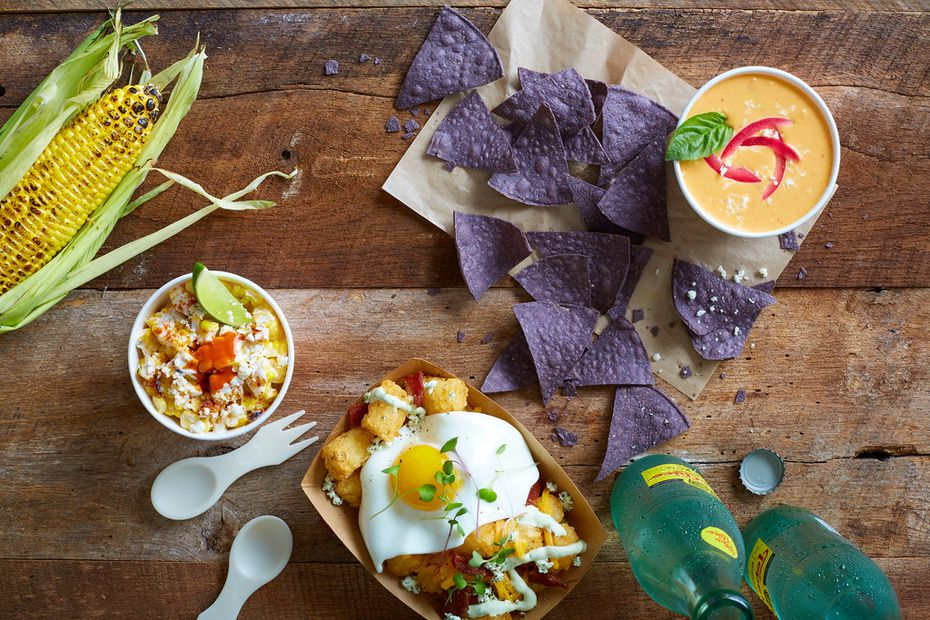 Velvet Taco's sides include red-curry-coconut queso, elotes (grilled corn), and tater tots.