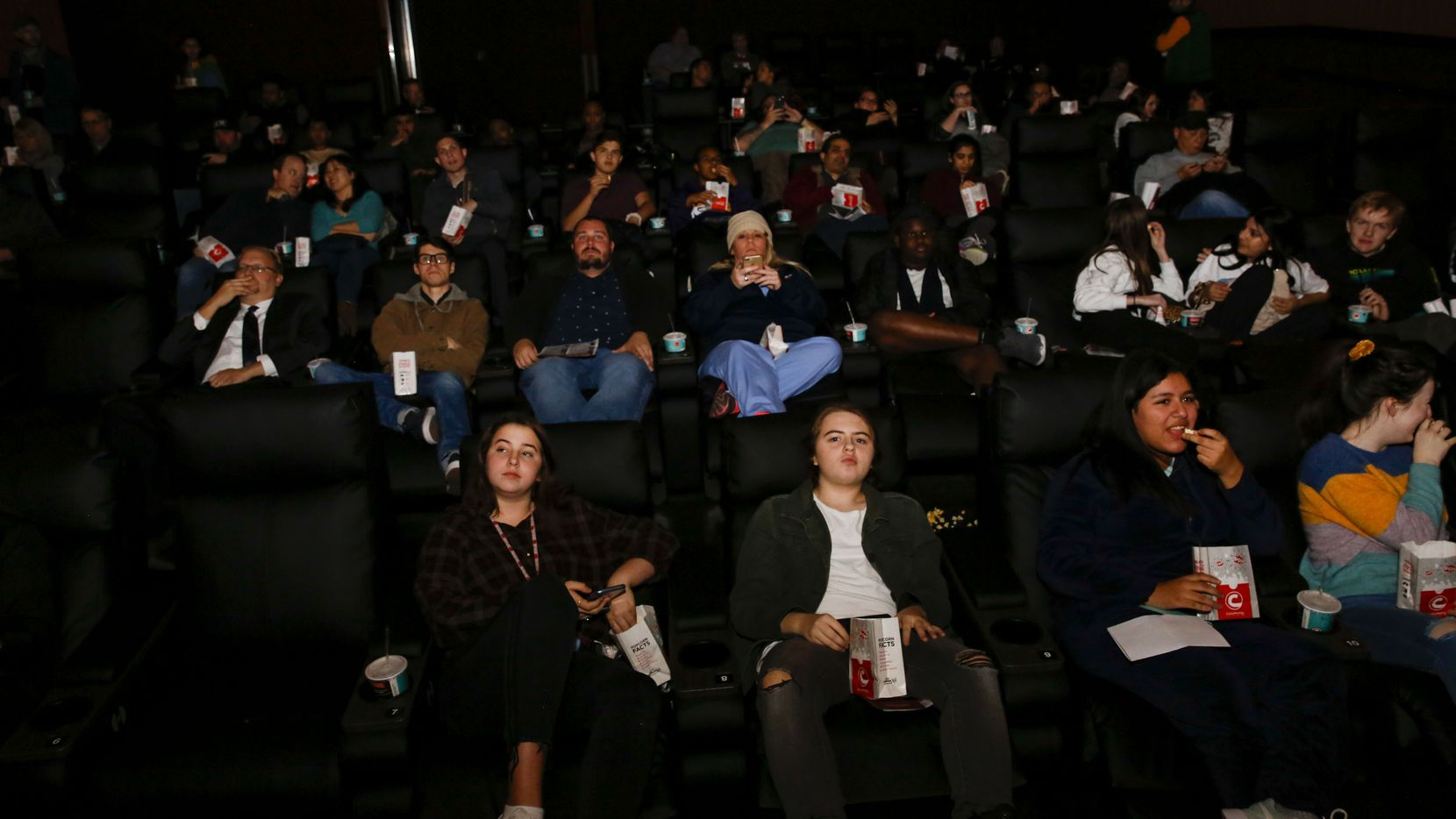 Invited guests got a look at a newly remodeled Cinemark theater at the corner of Coit Rd. and Park in Plano, Texas on Wednesday November 13, 2019.. The one time dollar theater was re-built with reclining chairs and upgraded snack and drink options. (Brian Elledge/The Dallas Morning News)