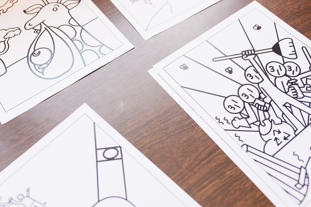 Images of the LOCAL coloring book designed by students of the Vickery Meadow Youth Development Foundation's EAGLE Scholars program. The students designed the book over the summer during a class taught by artist Natalia Padilla.