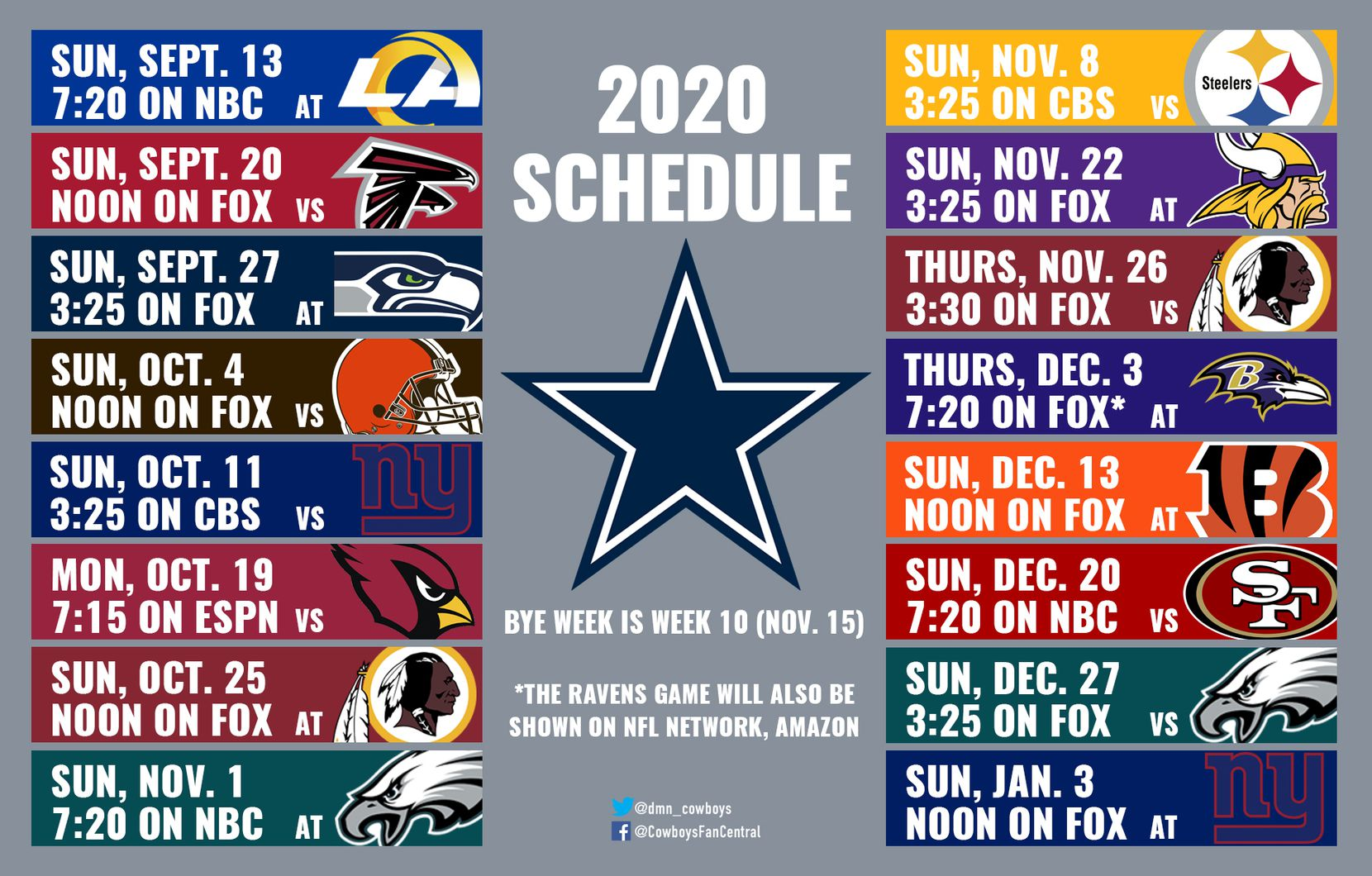 2020 Cowboys Schedule Dates And Times Announced For Dallas Preseason Games