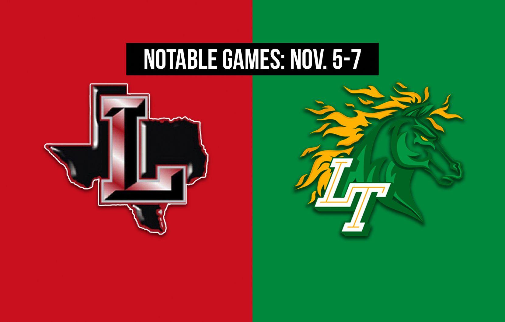 Notable games for the week of Nov. 5-7 of the 2020 season: Frisco Liberty vs. Frisco Lebanon Trail.