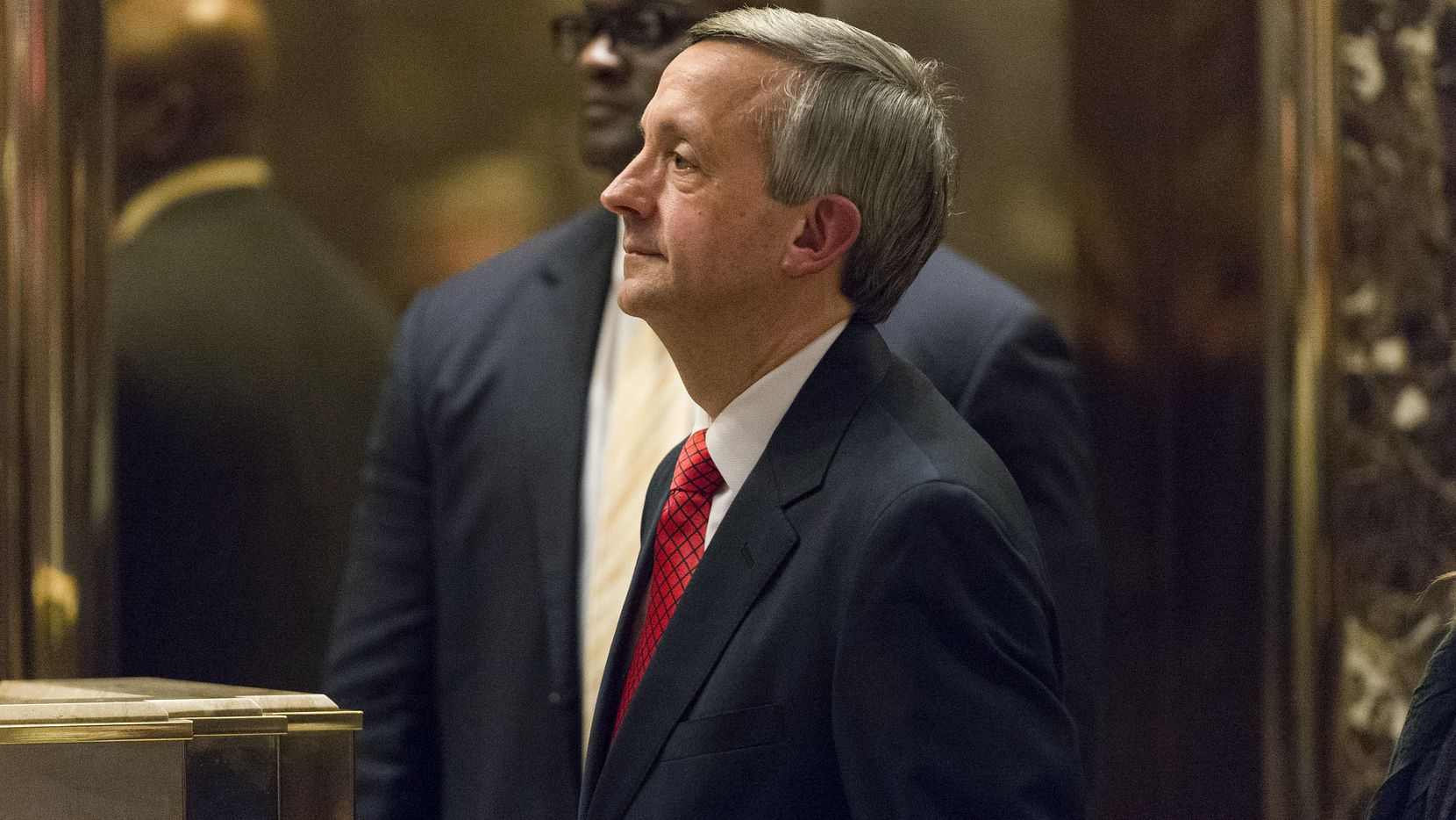 Pastor Robert Jeffress arrives in the lobby of Trump Tower on Jan. 3. (Albin Lohr-Jones/Bloomberg News)