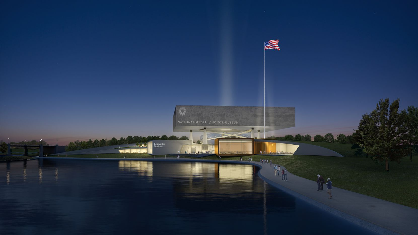 The National Medal of Honor museum, shown in a rendering, was on track to open in Arlington's entertainment district in 2024 as of October 2020.