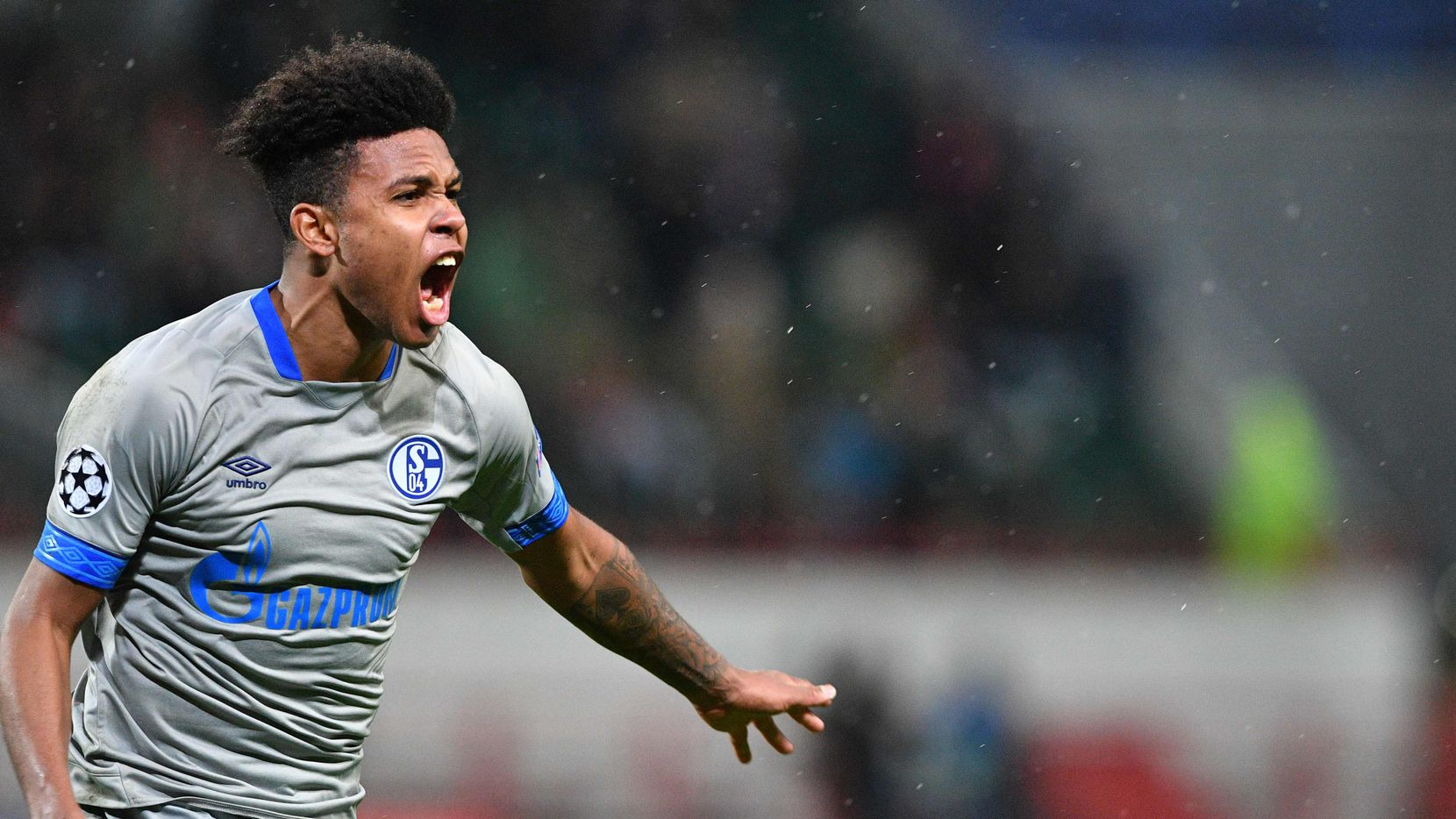 Schalke's US midfielder Weston McKennie celebrates after scoring a goal during the UEFA Champions League group D football match between FC Lokomotiv Moscow and FC Schalke 04 at the RZD Arena in Moscow on October 3, 2018.