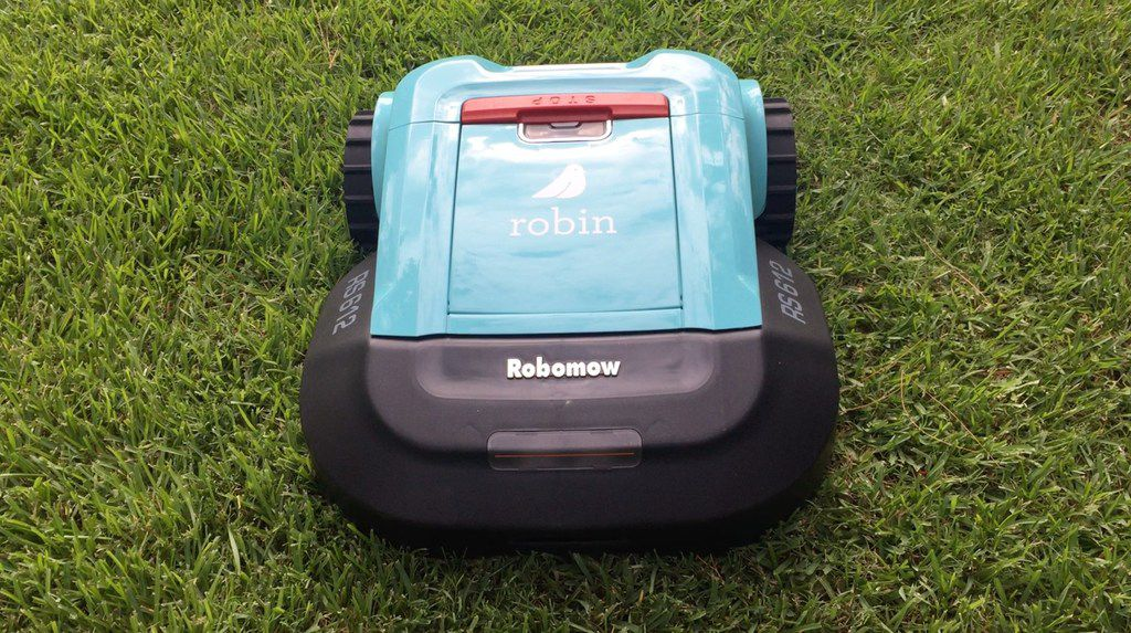 A robotic mower made by technology company Robin Autopilot is pictured.