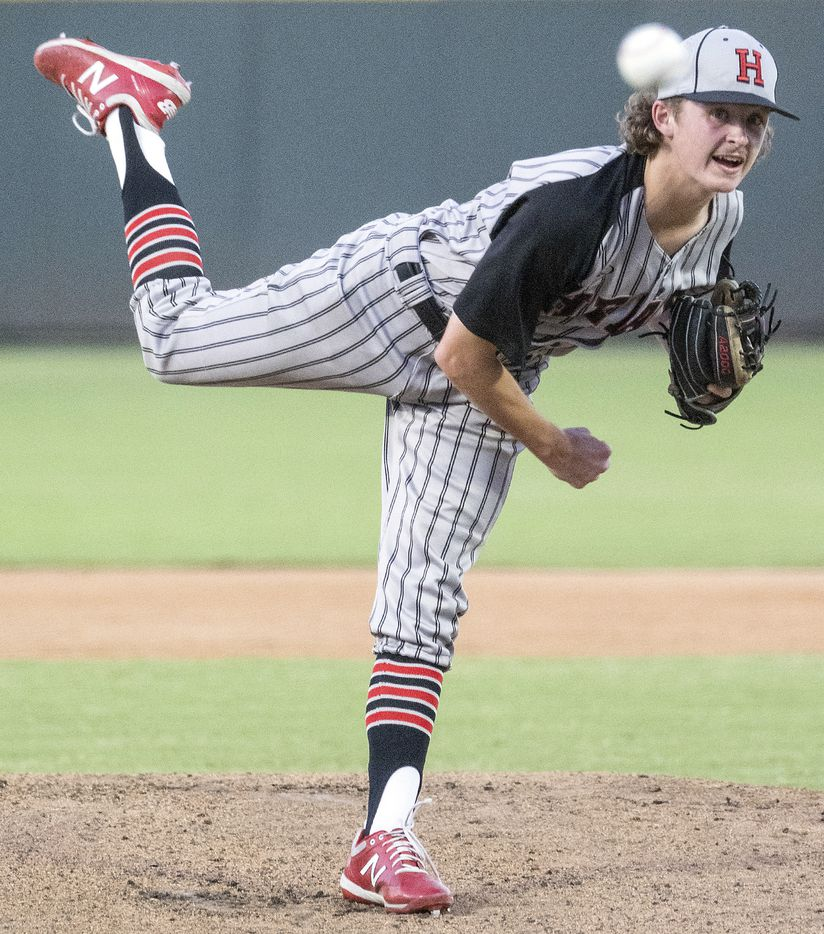Rockwell-Heath Baylor Baumann, (1), pitches against Comal Smithson Valley during the first inning of the 2021 UIL 6A state baseball semifinals held, Friday, June 11, 2021, in Round Rock, Texas.    (Rodolfo Gonzalez/Special Contributor)