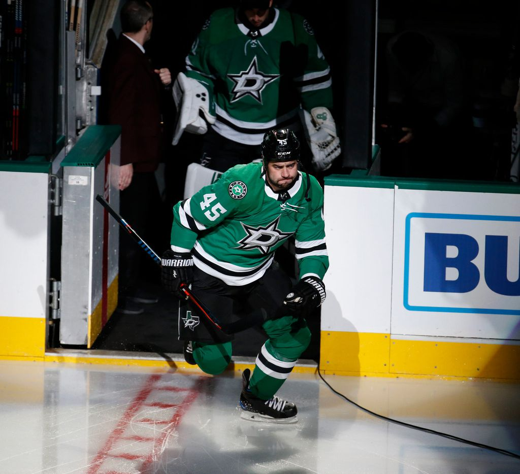 Dallas Stars defenseman Roman Polak (45) takes the ice against the St. Louis Blues during the first period of their hockey game at American Airlines Center in Dallas on Sept. 18, 2018.  (Nathan Hunsinger/The Dallas Morning News)