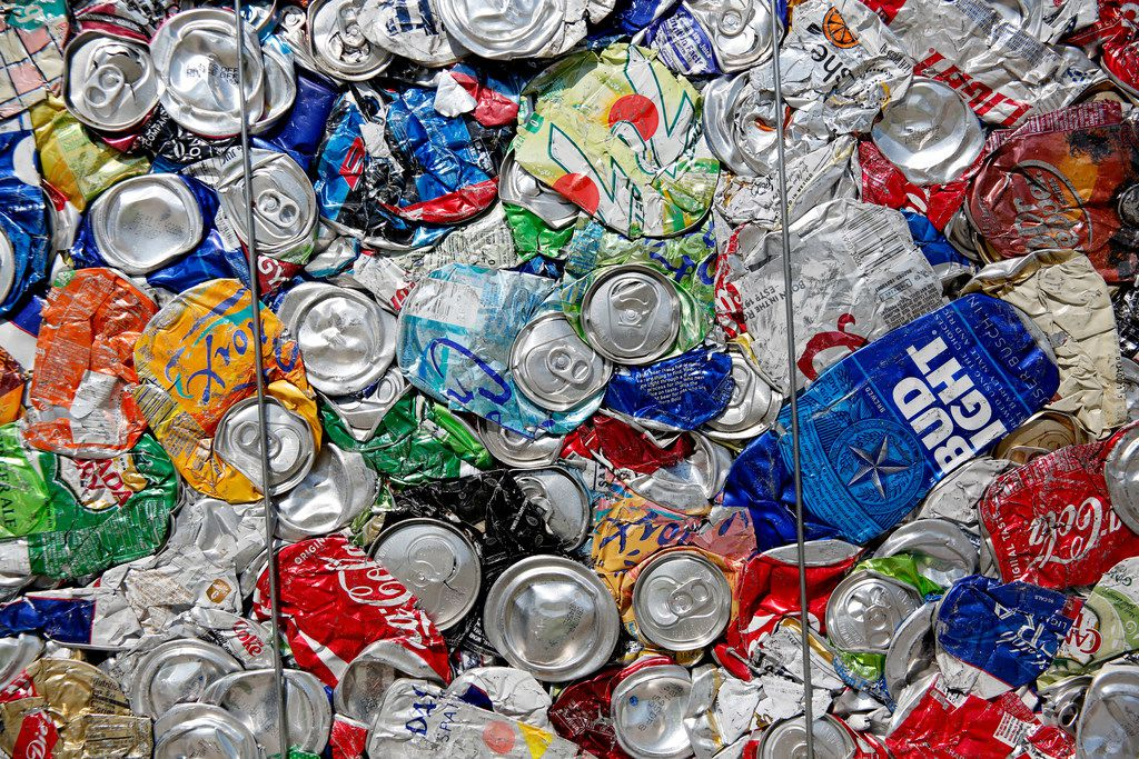 Aluminum cans are baled at the Dallas recycling center.
