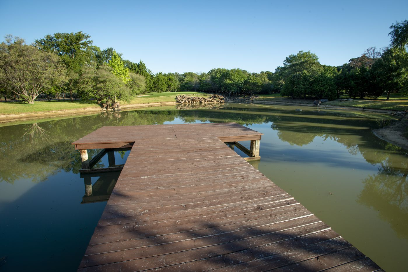 Stocked bass pond at 5101 Kensington Ct., in Flower Mound, Texas on August 19, 2020. (Robert W. Hart/Special Contributor)