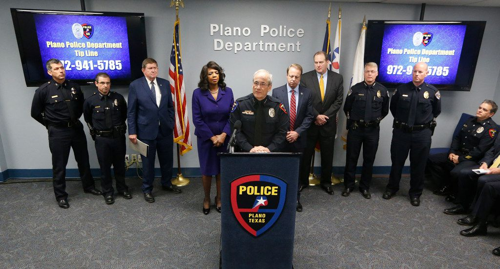 Plano Police Chief Gregory W. Rushin answers questions during a news conference after Billy Chemirmir, 48, was arrested on suspicion of capital murder and attempted capital murder.