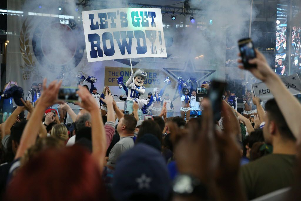 Dallas Cowboys mascot Rowdy interacts with fans as they react during a watch party moments after the Dallas Cowboys pick running back Ezekiel Elliott, of Ohio State, in the first round of the 2016 NFL Draft at AT&T Stadium in Arlington, Texas Thursday April 28, 2016. (Andy Jacobsohn/The Dallas Morning News) 122