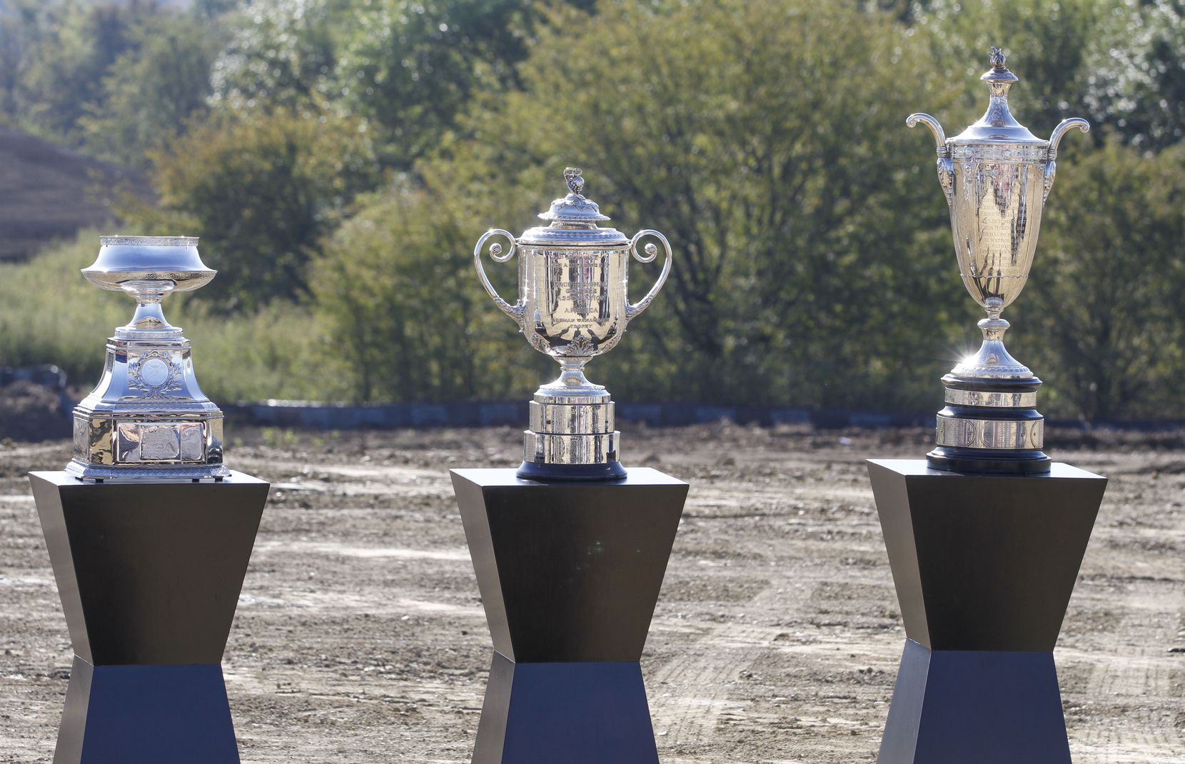 Trophies representing the KPMG Women's PGA Championship, the Rodman Wanamaker PGA Championship and the Alfred S. Borne Senior PGA Championship were displayed at the future site of PGA of America headquarters in Frisco.