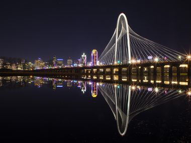 The Dallas skyline added some curves with the Margaret Hunt Hill Bridge.