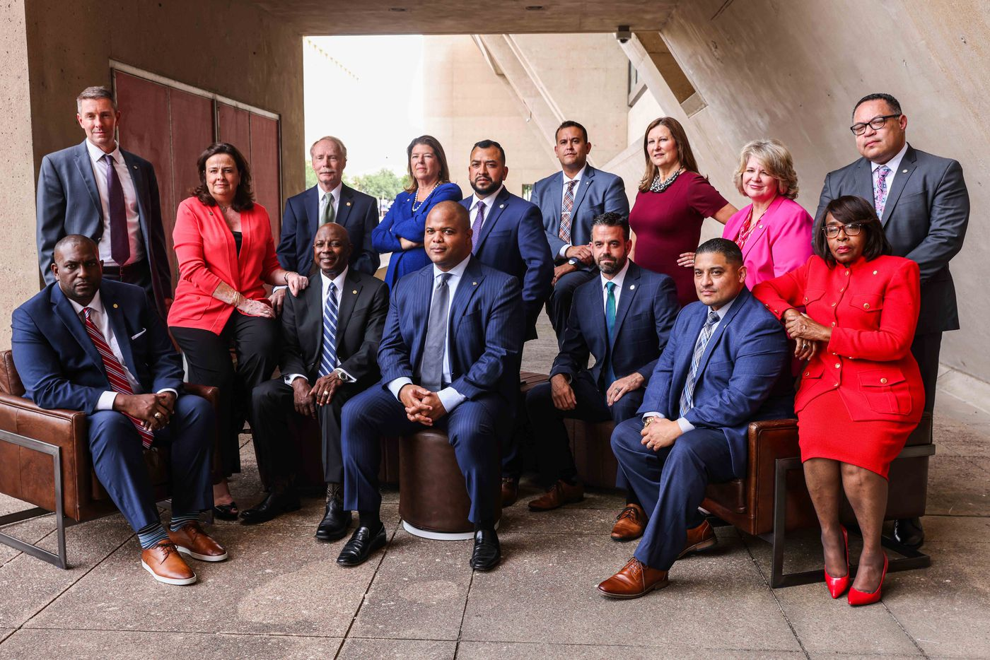 Recently elected Dallas City Council members pose together with Mayor Eric Johnson at the City Hall in Dallas on Monday, June 14, 2021, after their Inauguration ceremony. (Lola Gomez/The Dallas Morning News)