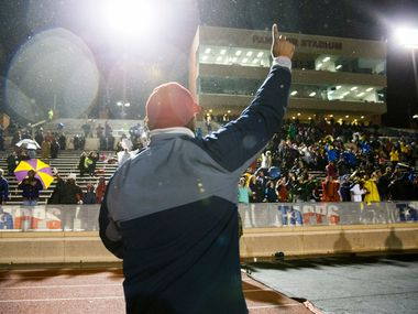 Bishop Dunne head coach Michael Johnson celebrates after winning the TAPPS Division I state football championship game between Bishop Lynch and Bishop Dunne on Friday, December 7, 2018 at Midway ISD's Panther Stadium in Waco, Texas. Bishop Dunne won 13-9.  (Ashley Landis/The Dallas Morning News)
