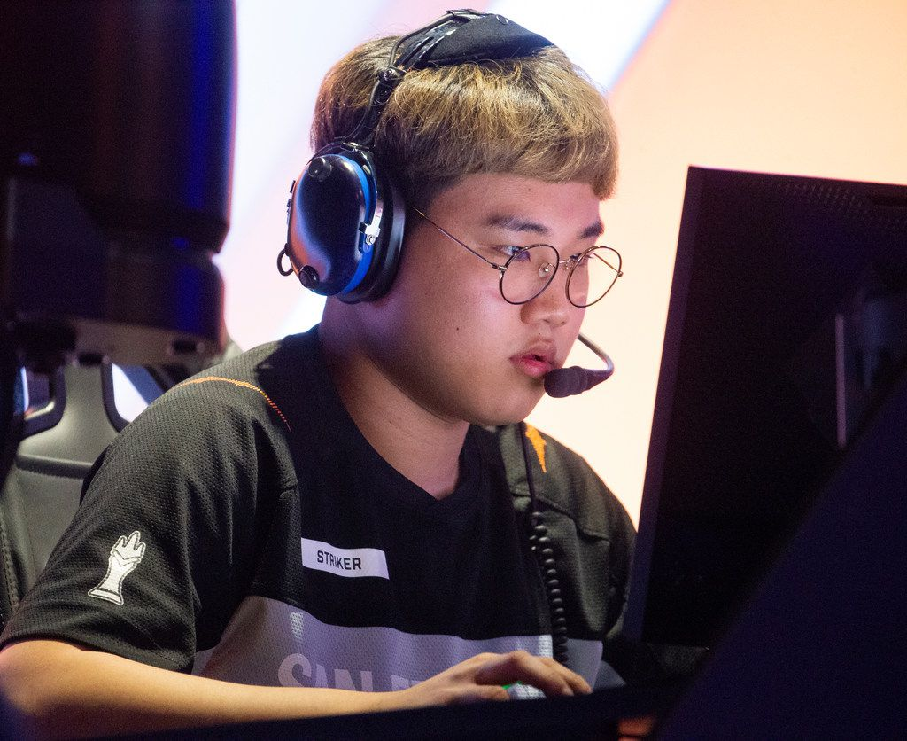 Namju 'Striker' Gwon of the San Fransisco Shock plays against the Dallas Fuel during the season three opening weekend of the Overwatch League on Feb. 9, 2020 at the Esports Stadium in Arlington. The Fuel lost 3-1. (Juan Figueroa/ The Dallas Morning News)